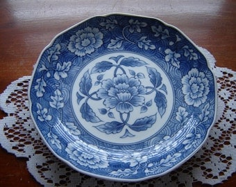 Vintage bowl 8 inch scalloped edge bowl wedding table serving and dining blue and white collectible