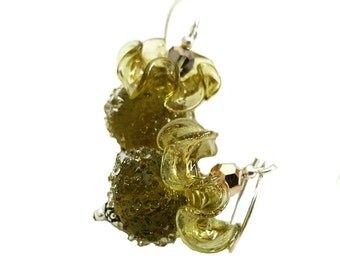 Moss green sugar frosted lampwork earrings, perfectly matched ruffle glass bead, topped green Swarovski crystals, Sterling silver
