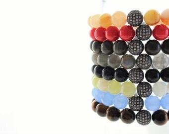 Gemstone Black Micro Pave Cubic Zirconia Stackable Beaded Bracelet