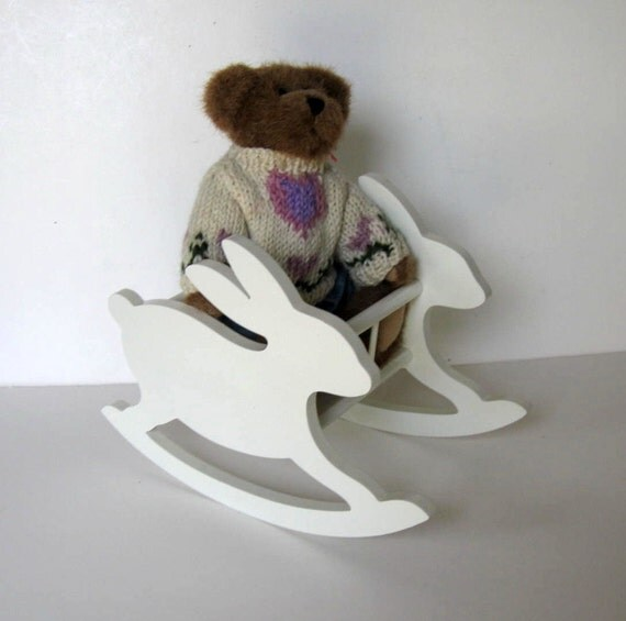 Vintage Teddy bear in a wood doll rocking chair, Boyds Bear, wood ...