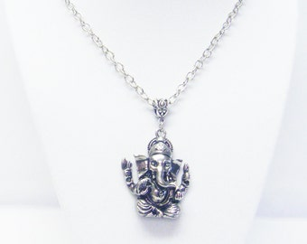 Four Armed Antique Silver Plating Ganesha Elephant Pendant Necklace