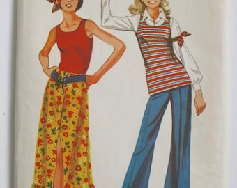 1970s Hippie Skirt Tunic Top Bell Bottoms Pants . Vintage Sewing Pattern Simplicity 9277 Young Junior Teen . Bust 30 1/2 Modern Day Size 0