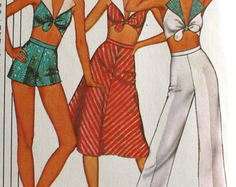 1970s Reversible Halter Top . Vintage Pants or Shorts and Bias Skirt . 1977 McCalls Pattern 5585 Bust 34 - 36 - 38 Women's USA