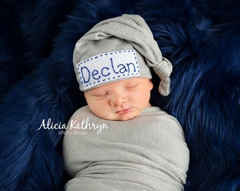 Personalized newborn Baby Top Knot Hat with Name Blue, gray or pink, came, purple