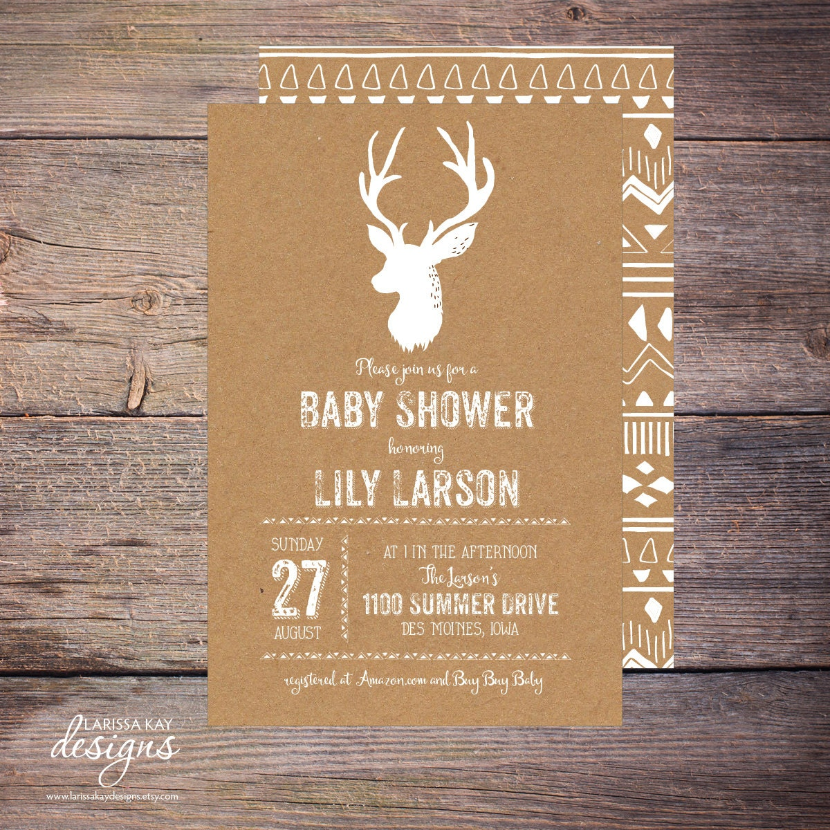 printable deer baby shower invitation kraft by larissakaydesigns