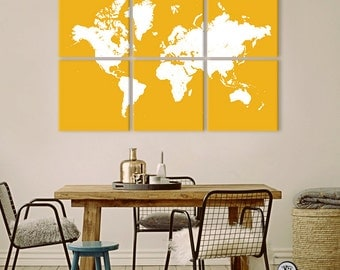 Custom World Map on 6 panel canvas - personalized design and colors ready to hang - home decor, interior design.