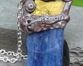 Blue Kyanite Necklace Labradorite Crystal Pendant Mayan Inspired Art Kyanite Amulet Tripping Stone Balancing Grounding