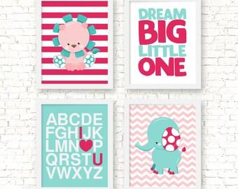 Dream big little one, alphabet art print, nurseyr girl decor, lion and elephant baby decor, jungle nursery decor, hot pink teal art, BE-4037