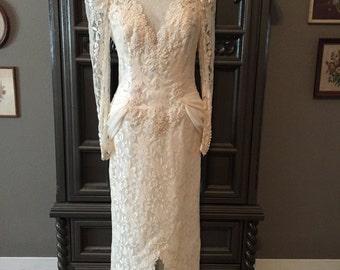 80s Victorian Revival Classic Slim Fit Beaded Romantic Tea Length Wedding Dress