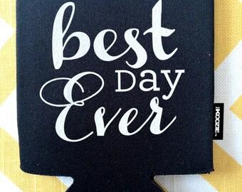 Best Day Ever wedding KOOZIE®, floral vine KOOZIE®, custom wedding KOOZIE®, wed koozy, stubby holder, cold beer holder, wed coozy