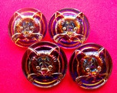 Czech  Glass Buttons  4 pcs  collectable CAT   27mm     IVA  C 139