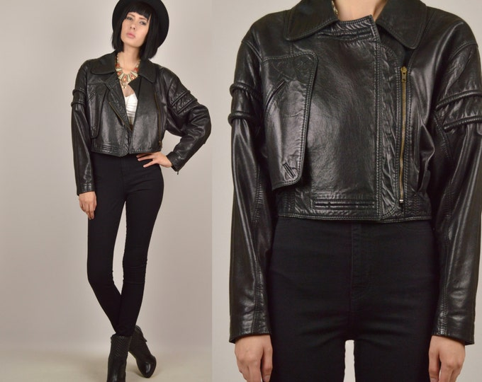 80's Black Leather Crop Moto Jacket
