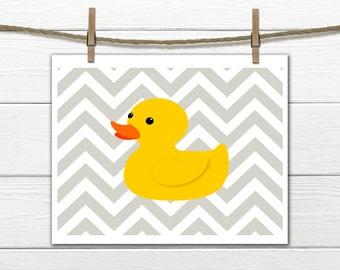 Children's Art Print - Bathroom Decor - Rubber Duck - Yellow Ducky - Instant Download - 8x10