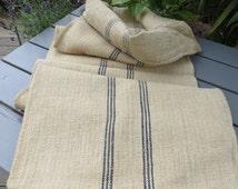 "Grain Sack Dark Natural  Handwoven Linen Deep Blue Stripes Pillow Cover Bag Cushion Upholstery Feed Sack 57 "" Grainsack Feedsack"