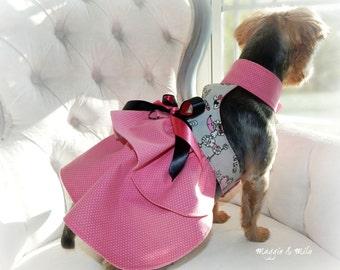 Dog Dress, Pink Dog Dress, Grey Dog Dress, Dog Clothes, Pet Clothing