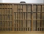 Vintage Printers Tray - Hamilton Type Setter Tray, Wood Letterpress Tray, Cast Iron Handle, Antique Wood Tray