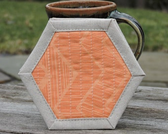 Coasters, Quilted, Orange Chevron, Zig Zag, Set of Coasters, Linen Coasters, Modern Hostess Gift, Mug Rug, Gift Exchange