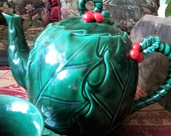Lefton Holly Teapot, Cup and Saucer
