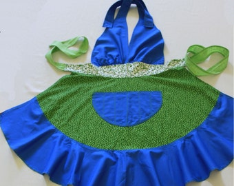 Blue and Green Floral Apron