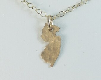 State Charm - New Jersey Charm - Texas - Country Charm - Hand Cut - Hand Hammered - Hand Stamped - Sterling Silver - 14k Gold Fill