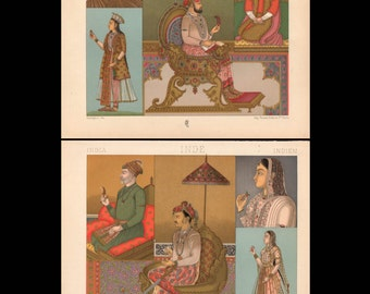 Sale: Pair of Original Antique French Prints, East Indian Costume and Culture, Vivid Colors