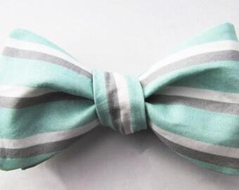 Men's Freestyle Bowtie - Mint & Grey Sailor Stripe