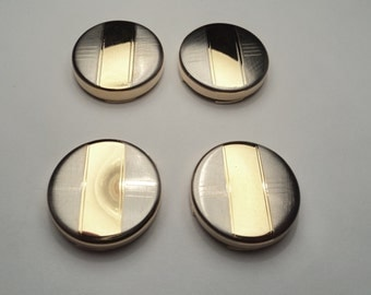 4 pcs - Two tone gold/silver plated Button Covers  - bc04