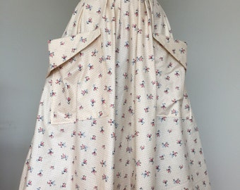 REDUCED 50s Style Pleated Skirt vintage inspired cotton fabric foral with large pockets S