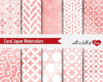 Coral Pink Watercolor Japanese Digital Paper Pack Commercial Use Coral Background Tillable Patterns Baptism digital paper wedding