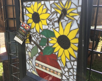 Stained glass mosaic sunflower