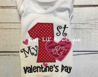 My 1st Valentine Shirt - Personalized Valentines Shirt - Girl - Toddler - Infant - Baby - Personalized Shirt - Babies 1st Valentine