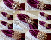SALE 10 pc Mix Ex-large Large SILVER or GOLD Rhinestone Crystal Brooch Napkin rings Holder Wedding Holiday Brooches Table Decoration