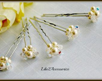 Wedding Hair Accessories Bridal Hair Pins Crystal Swarovski Pearl Gold Ivory Pearl Hair Pin Bridal Pearl Hair Pin Ivory Pearl Hair Clip