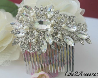 Bridal Comb, Rhinestone Comb, Bridal Comb Crystal, Wedding Hair Comb, Swarovski Pearls, Ivory White Wedding Accessories, Bridal Headpieces