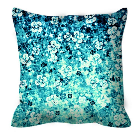 Blue Microsuede Throw Pillows : FLOWER POWER Blue Floral Ombre Art Suede Throw Pillow Cover