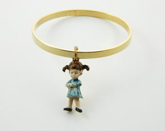 Fran Mar Moppets Bangle - Girl with Pigtails- BR013