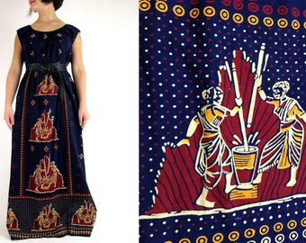 Vintage 80's Hippie Boho COACHELLA  Egyptian Afro Punk Ethnic Tribal Print Festival Dress OS
