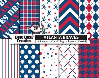10 Atlanta Braves Digital Papers for Scrapbooking, Digital Paper, Digital Scrapbook Paper, Printable Sheets, Baseball, Patterns
