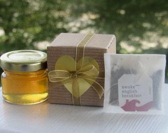 Tea Party Favors: Bridal Shower, Wedding Favors, Birthday. Organic Tea & Gourmet Honey in Kraft Gift Boxes, Tea Party, Tea Favor