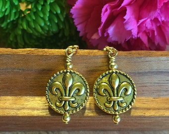 Earrings, Hand Wire Wrapped, Fleur De Lis, Gold Tone Ball Accent, Gold Tone, Rope Accents, Antiqued Finish, Free shipping # 124