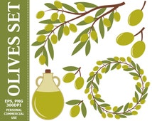 BUY 1 GET 1 FREE - Digital Olives Clip Art - Leaves, Olive Branch, Wreath, Olive Oil, Olives Clip art. Commercial and Personal use