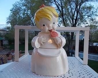 Girl Candy Jar, Vintage Kitchen, Kitchen Storage, Cookie Jar, Candy Jar, Canister, Vintage Kitchen Decor Vintage Home Decor, Home Decor, )s*