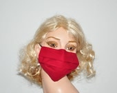 Hospital Mask, Dark red cotton face mask, medical mask, flu protection, reusable, sick days, organic cotton, Men and Woman