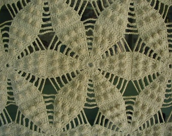 Vintage Hand Crocheted Bedspread, Full Double Bed Size, Heirloom Quality, Ecru Coverlet