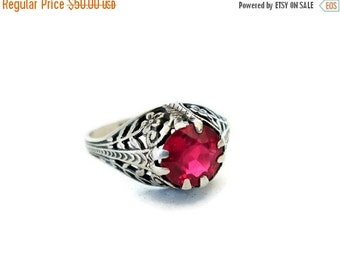 ON SALE Art Deco Ring, Sterling Silver, 1920's Floral Pink Quartz Ring, Size 5.25, Engagement Ring