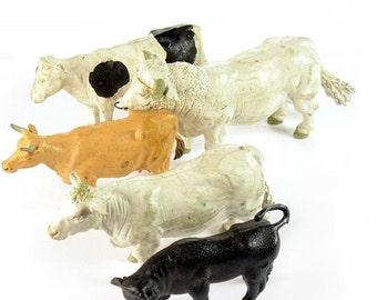 Vintage 1970's 1980's Britain's Farm Toy Cows & Bulls