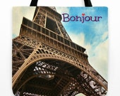 """Last One! Large 18"""" Bonjour Paris Canvas Tote Bag - Eiffel Tower Commanding Cloudy Blue Skies - Gift for Teacher - Gift for Francophile"""