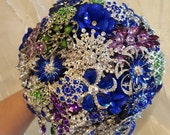 RESERVED for Sharon BALANCE Payment on Custom Made Cobalt Blue Silver Purple Green Bridal Brooch Bouquet