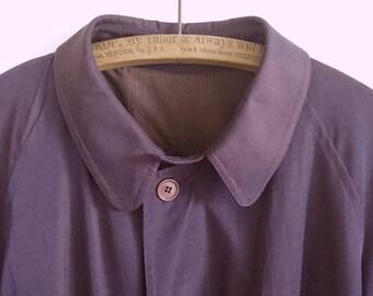 SABA Mens Coat, Vintage 1980s, One Size Fits All, Burgundy, Maroon, Dark Plum - Designer Fashion, Vintage, Mens