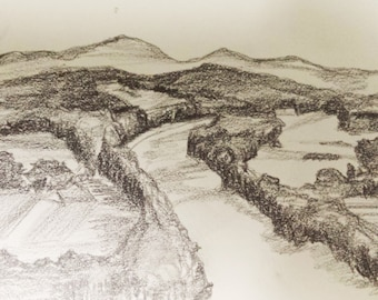 Pencil Drawing on Paper, Small scale Drawing, Original Pencil Drawing, Lanscape Drawing on Paper, Nature Drawing